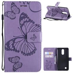 Embossing 3D Butterfly Leather Wallet Case for LG K10 2017 - Purple