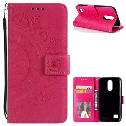 Intricate Embossing Datura Leather Wallet Case for LG K10 2017 - Rose Red