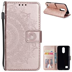 Intricate Embossing Datura Leather Wallet Case for LG K10 2017 - Rose Gold