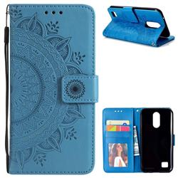 Intricate Embossing Datura Leather Wallet Case for LG K10 2017 - Blue