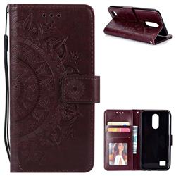 Intricate Embossing Datura Leather Wallet Case for LG K10 2017 - Brown