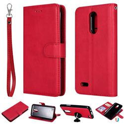 Retro Greek Detachable Magnetic PU Leather Wallet Phone Case for LG K10 2017 - Red