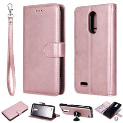 Retro Greek Detachable Magnetic PU Leather Wallet Phone Case for LG K10 2017 - Rose Gold