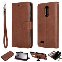 Retro Greek Detachable Magnetic PU Leather Wallet Phone Case for LG K10 2017 - Brown