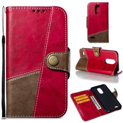 Retro Magnetic Stitching Wallet Flip Cover for LG K10 2017 - Rose Red