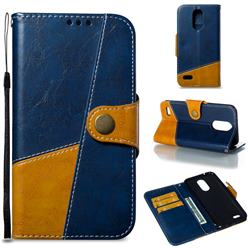 Retro Magnetic Stitching Wallet Flip Cover for LG K10 2017 - Blue