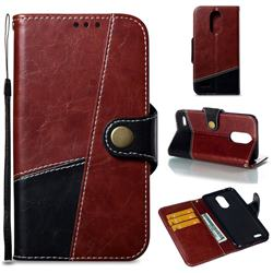 Retro Magnetic Stitching Wallet Flip Cover for LG K10 2017 - Dark Red