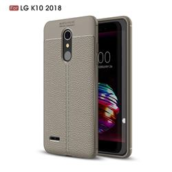 Luxury Auto Focus Litchi Texture Silicone TPU Back Cover for LG K10 (2018) - Gray