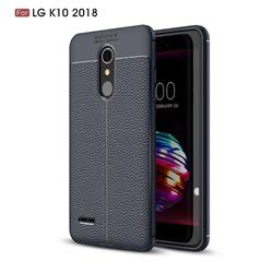 Luxury Auto Focus Litchi Texture Silicone TPU Back Cover for LG K10 (2018) - Dark Blue