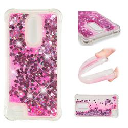 Dynamic Liquid Glitter Sand Quicksand TPU Case for LG K10 (2018) - Pink Love Heart