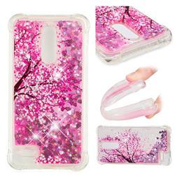 Pink Cherry Blossom Dynamic Liquid Glitter Sand Quicksand Star TPU Case for LG K10 (2018)