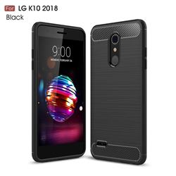 Luxury Carbon Fiber Brushed Wire Drawing Silicone TPU Back Cover for LG K10 (2018) - Black