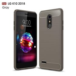 Luxury Carbon Fiber Brushed Wire Drawing Silicone TPU Back Cover for LG K10 (2018) - Gray
