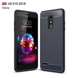Luxury Carbon Fiber Brushed Wire Drawing Silicone TPU Back Cover for LG K10 (2018) - Navy