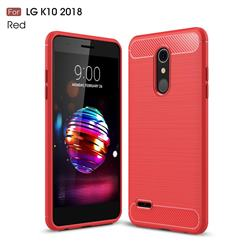 Luxury Carbon Fiber Brushed Wire Drawing Silicone TPU Back Cover for LG K10 (2018) - Red