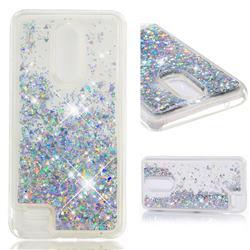 Dynamic Liquid Glitter Quicksand Sequins TPU Phone Case for LG K10 (2018) - Silver