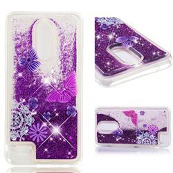 Purple Flower Butterfly Dynamic Liquid Glitter Quicksand Soft TPU Case for LG K10 (2018)