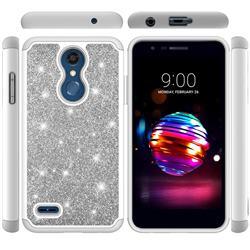 Glitter Rhinestone Bling Shock Absorbing Hybrid Defender Rugged Phone Case Cover for LG K10 (2018) - Gray