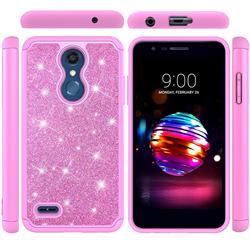 Glitter Rhinestone Bling Shock Absorbing Hybrid Defender Rugged Phone Case Cover for LG K10 (2018) - Pink