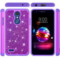 Glitter Rhinestone Bling Shock Absorbing Hybrid Defender Rugged Phone Case Cover for LG K10 (2018) - Purple