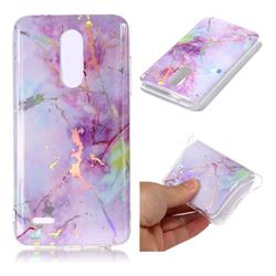 Pink Purple Marble Pattern Bright Color Laser Soft TPU Case for LG K10 (2018)