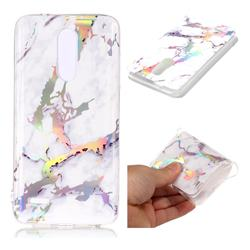 White Marble Pattern Bright Color Laser Soft TPU Case for LG K10 (2018)