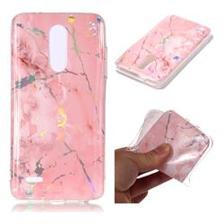 Powder Pink Marble Pattern Bright Color Laser Soft TPU Case for LG K10 (2018)