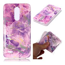 Purple Marble Pattern Bright Color Laser Soft TPU Case for LG K10 (2018)