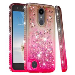 Diamond Frame Liquid Glitter Quicksand Sequins Phone Case for LG K10 (2018) - Gray Pink