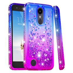 Diamond Frame Liquid Glitter Quicksand Sequins Phone Case for LG K10 (2018) - Blue Purple
