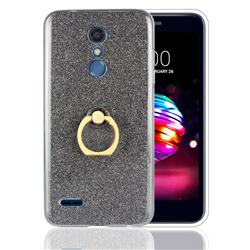 Luxury Soft TPU Glitter Back Ring Cover with 360 Rotate Finger Holder Buckle for LG K10 (2018) - Black