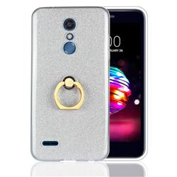 Luxury Soft TPU Glitter Back Ring Cover with 360 Rotate Finger Holder Buckle for LG K10 (2018) - White