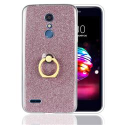 Luxury Soft TPU Glitter Back Ring Cover with 360 Rotate Finger Holder Buckle for LG K10 (2018) - Pink