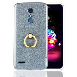 Luxury Soft TPU Glitter Back Ring Cover with 360 Rotate Finger Holder Buckle for LG K10 (2018) - Blue