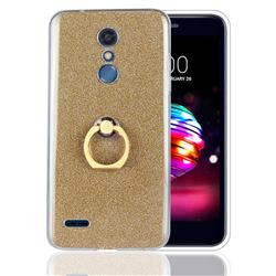 Luxury Soft TPU Glitter Back Ring Cover with 360 Rotate Finger Holder Buckle for LG K10 (2018) - Golden