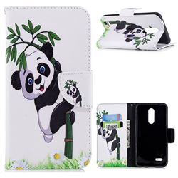 Bamboo Panda Leather Wallet Case for LG K10 (2018)