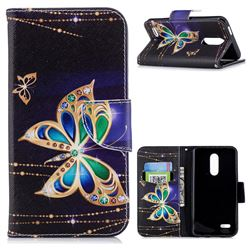 Golden Shining Butterfly Leather Wallet Case for LG K10 (2018)