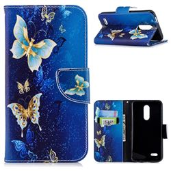 Golden Butterflies Leather Wallet Case for LG K10 (2018)
