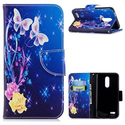 Yellow Flower Butterfly Leather Wallet Case for LG K10 (2018)