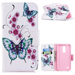 Peach Butterflies Leather Wallet Case for LG K10 (2018)