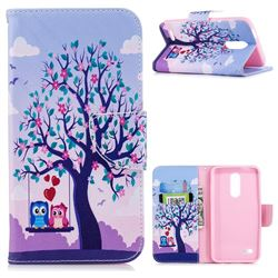Tree and Owls Leather Wallet Case for LG K10 (2018)