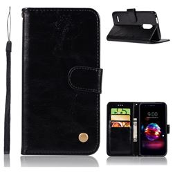 Luxury Retro Leather Wallet Case for LG K10 (2018) - Black