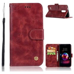 Luxury Retro Leather Wallet Case for LG K10 (2018) - Wine Red