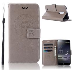 Intricate Embossing Owl Campanula Leather Wallet Case for LG K10 (2018) - Grey
