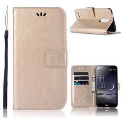 Intricate Embossing Owl Campanula Leather Wallet Case for LG K10 (2018) - Champagne