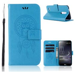 Intricate Embossing Owl Campanula Leather Wallet Case for LG K10 (2018) - Blue