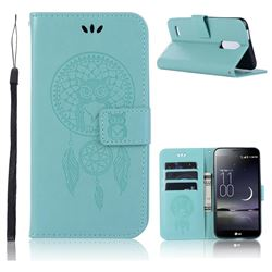 Intricate Embossing Owl Campanula Leather Wallet Case for LG K10 (2018) - Green