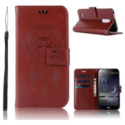 Intricate Embossing Owl Campanula Leather Wallet Case for LG K10 (2018) - Brown
