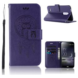 Intricate Embossing Owl Campanula Leather Wallet Case for LG K10 (2018) - Purple