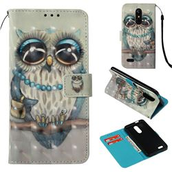 Sweet Gray Owl 3D Painted Leather Wallet Case for LG K10 (2018)